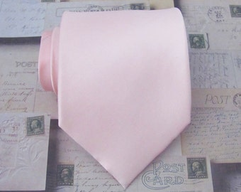 Mens Ties Pastel Pink Tie Pale Pink Silk Necktie With *FREE* Matching Pocket Square Set