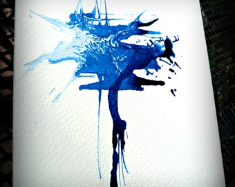 5X7 hand-painted greeting card called attunement in blu. art card.