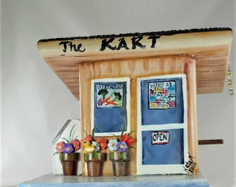 Unique Grocery Store Birdhouse , Handmade , Hand Painted with Ice Machine and Cola Machine