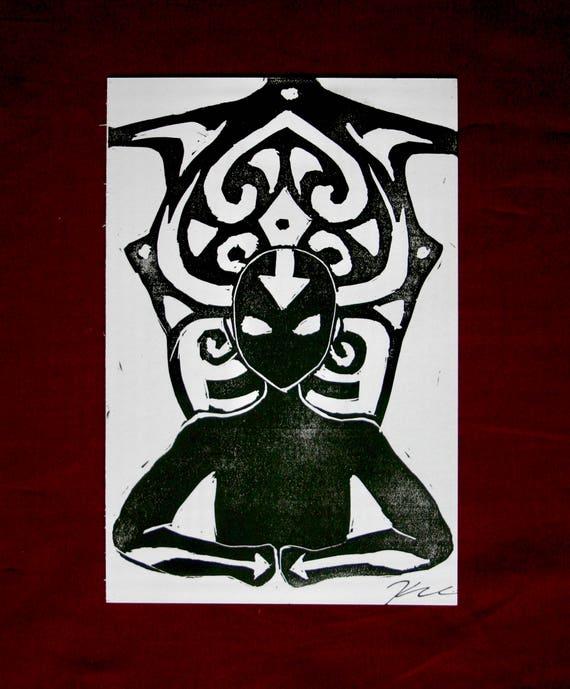 Avatar Aang inspiriert Linolschnitt Druck Postkarte