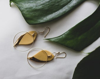 Ceramic Earrings | Mustard Earrings | Leaf Earrings