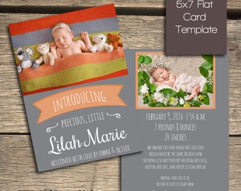 INSTANT DOWNLOAD - Birth Announcement - Photoshop Template - B104