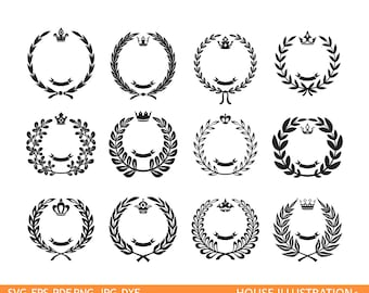 Leaf wreath svg - laurel wreaths clipart digital download - leaf circle monogram frame files svg, png, dxf, eps
