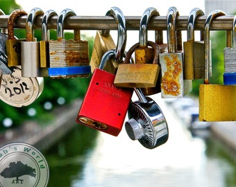 Urban Photography   Love Locks Over the Canal   Digital Download