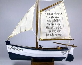 Personalised christening, baptism, dedication, etc gift, small wooden model sail boat, nautical theme.  22cm