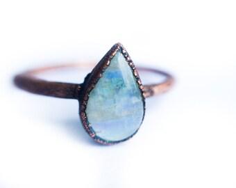 Rainbow moonstone ring   Simple stone stacking ring   Tiny moonstone stacking ring   Electroformed mineral jewelry   Organic stone jewelry