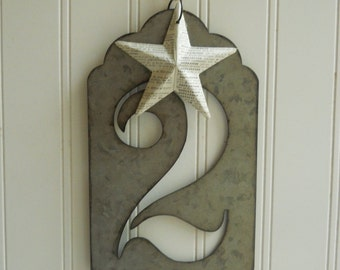 "Large metal number two stencil hanging with vintage French dictionary papered star Jumbo zinc look 5 1/2"" tall font Industrial chic"