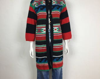 Vtg 70s space dye ethnic cardigan sweater duster knit small