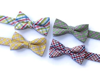 Boys Bow Ties~Boys Bow Tie~Boys Plaid Bow Ties~Cotton Bow Tie~Navy Bow Tie~Church Tie~Bow Tie~Wedding~Ring Bearer~Gift