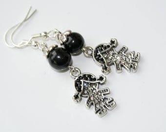 Girls black and white rhinestone earrings