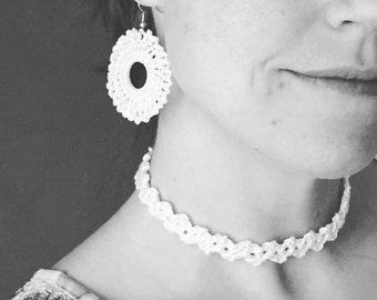 Crochet Earrings and Choker Set / Handmade Jewelry Set / Crochet Necklace / Crochet Choker / Crochet Jewelry / Choker For Women / Gifts