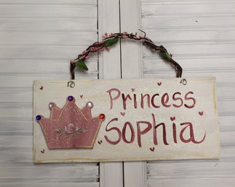Girls Princess Pink Hand Painted Wood Sign