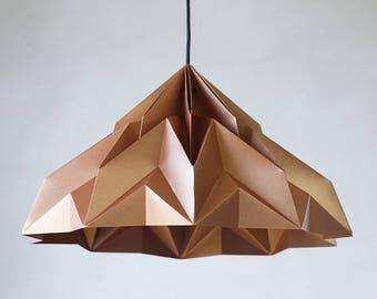 MAKE A WISH XL -  origami lampshade pendant satin-copper