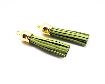 Set of 2 tassel pendants with suede fringe 58 mm