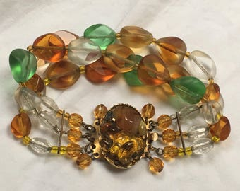 Vintage C1960s glass & brass 3 row bead bracelet Beautifully cut beads Amazing!