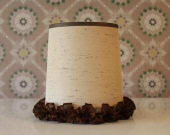 Vintage Ruffled Lampshade, Drum Shade with Ruffle, Boudoir Shade, Shade for Small Lamp, Retro Lamp Shade, Shabby Shade, Small Drum Shade