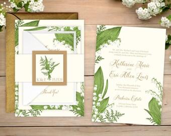 Wedding Invitations - DEPOSIT TO START Lily of the Valley Suite - Custom Wedding Invites - Personalized Wedding Invitations - Wedding Suites