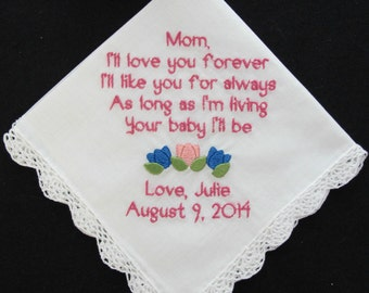 Embroidered Wedding Handkerchief Mother of the Bride