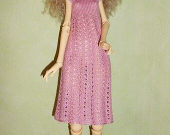 Handmade knitted Doll Chateau Kid BJD MSD pink dress
