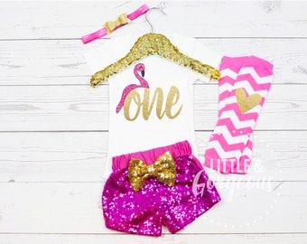 1st Birthday Flamingo Onesie, First Birthday Flamingo Onesie, First Birthday One Girl Outfit, Flamingo Birthday Outfit, Girls Sparkle Shorts