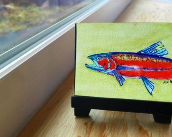 Red Salmon Mini Watercolor on easel