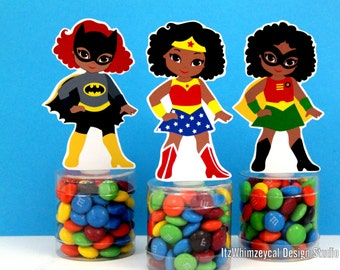 African American Girl Superhero Birthday Party Favor / Super Hero Gifts / Candy Container / Candy Buffet / Party Favor Boxes / Kids Favors