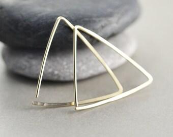 Gold Triangle Hoops, Hoop Earrings, Geometric