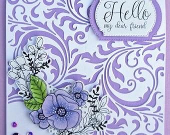 "Handmade ""Hello Friend"" Greeting Card"