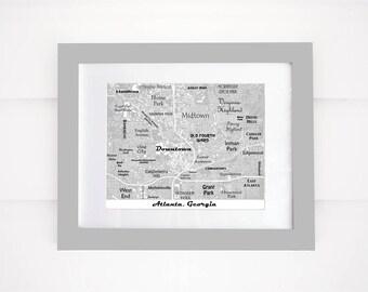 Atlanta Map Print, Atlanta Buildings, Downtown Atlanta Map, GA Tech, Atlanta Map Art black and white
