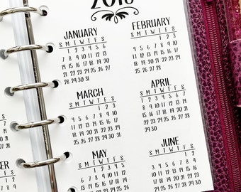 Pocket 2018 Year at Glance printed planner insert - year in review - yearly planner insert