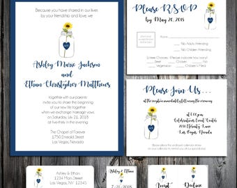 Mason jar with Sunflower Wedding Invitations, RSVP's, Reception Insert w/ FREE Calendar Stickers - Printing included