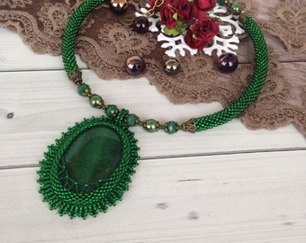 Green Agate Necklace  Stone women gift Elegant Gemstone necklace Beadwork Stone Jewelry  Victorian style gift Gift  for her