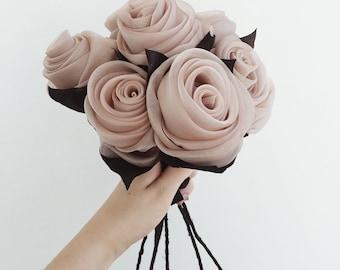 artificial flowers bouquet organza flowers fabric flowers wedding bouquet wedding flowers rolled flowers rolled roses ash roses dusty rose