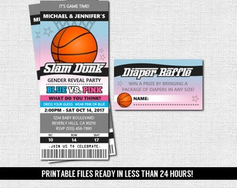 GENDER REVEAL TICKET Invitation Basketball Baby Shower Party + Diaper Raffle (print your own) Personalized Printable Files - Admit One
