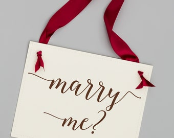 Marry Me? Proposal Sign | Engagement Banner Handmade in USA | Creative Ways to Propose to Girlfriend | 1464 BW