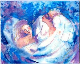 Mardi Gras Angels, Original painting, Masks, wings, party, Masquerade, Mardigras painting,  women painting, celebration,