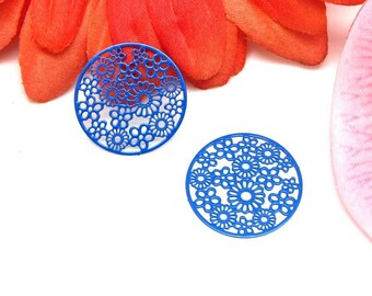 4 prints filigree round ultramarine blue flowers Metal pellets - 20 mm