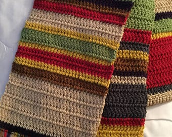 Crocheted Seven foot long 4th Doctor scarf