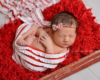 Ruffle Stretch Fabric Wrap Red White Striped Newborn Photography Prop Posing Swaddle