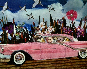 Dogs in Car Card-Pink,Dogs,Vintage Car,Interior Design,Pink Car,Dog,Road Trip,Vacation