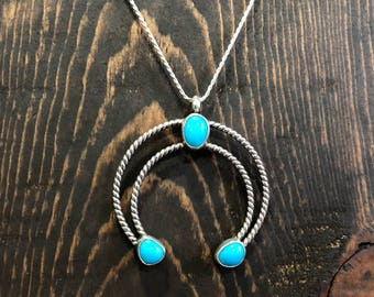 "Navajo naja pendant with 24"" sterling silver chain"