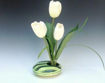 Green Ikebana Vase, Green Porcelain Vase, Ceramic Vase, Ceramic Ikebana Vase, Striped Pattern, Wheel Thrown Pottery Vase