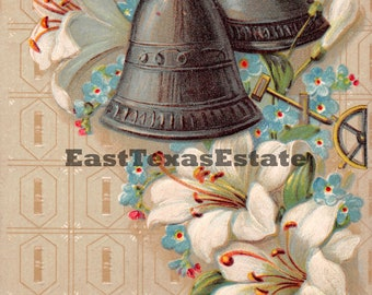 Vintage Digital Image Easter Greetings Bells Lily Lilies Download Printable 1950's Greeting Card
