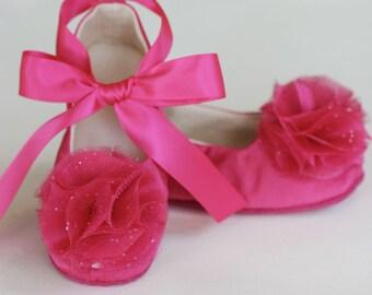 Easter Fuchsia Toddler Shoe, Spring Flower Girl Shoe, Baby Ballet Flat,  Toddler Ballet Slipper, Spring Wedding Shoe, Dance Shoe, Baby Souls