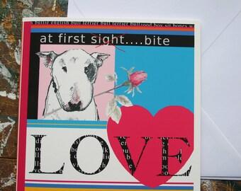 Bull Terrier Valentine Card Love at First Bite