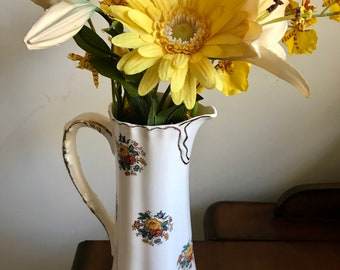Vintage ,  WATER PITCHER, VASE (Cramer Mold 71) Beautiful Beige with Gold Trim, Burst of Colorful Flowers