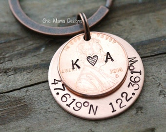 Lucky to Have Found You Coordinates Keychain, Lucky US Copper Penny Key Chain, Longitude Latitude Keychain, 7 Year Anniversary Present