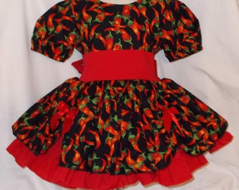 Red Hot Chili Peppers Girls Dress with Ribbon Ruched Overskirt and Red Sash and Underskirt.  Pageant Costume Dress Baby Toddler Girl's