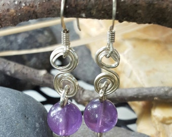 Amethyst silver hook and link earring