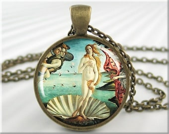Botticelli Venus Necklace, Birth Of Venus Art Pendant, Resin Charm, Resin Picture Jewelry, Round Bronze, Gift For Art Lover, Love Gift 368RB